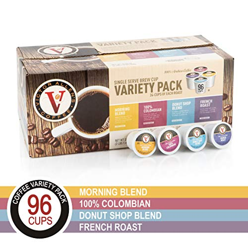 Donut Shop, Morning Blend, 100% Colombian, and French Roast Variety Pack for K-Cup, Keurig 2.0 Brewers, 96 Count Victor Allen's Coffee Single Serve Coffee Pods ()