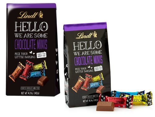 Mini Chocolate Brownies (Lindt Hello We ARE Some Chocolate Minis Variety Pack: Caramel Brownie, Strawberry Cheesecake, Cookie & Cream, Crunchy Nougat- Assorted Chocolate Mini Sticks Natural Flavors Bag Net Wt 4.9 Oz: 2)
