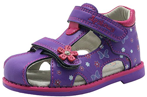 Apakowa Boy's and Girl's Double Adjustable Strap Closed-Toe Sandals (6 M US Toddler, Purple)