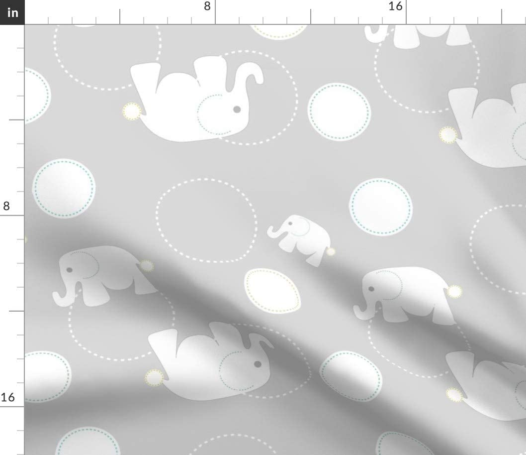 Spoonflower Fabric - Elephants Grey Baby Boy Nursery Printed on Petal Signature Cotton Fabric by The Yard - Sewing Quilting Apparel Crafts Decor