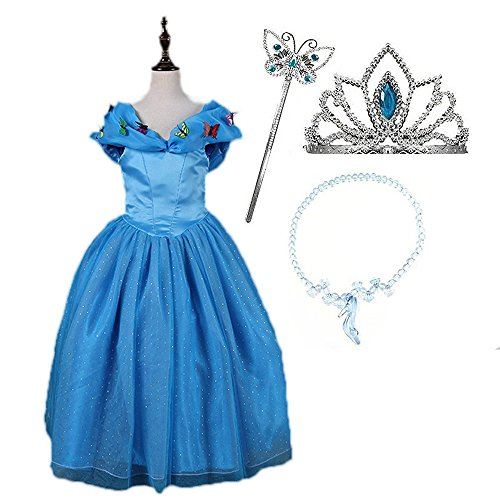 SURPCOS Cinderella Princess Dress 6 Layered 2017 Girl Butterfly Party Costumes and Accessories (5T/120cm)