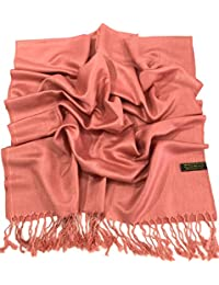 Coral Pink Solid Color Design Shawl Pashmina Scarf Wrap Stole CJ Apparel NEW
