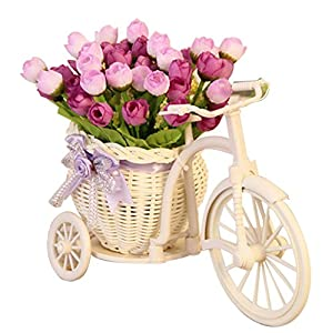 PANDA SUPERSTORE Handmade Camellia Flower Basket Simulation Flowers Artificial Flowers 21