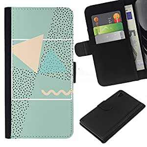 A-type (Abstract 90'S Art Pink Green) Colorida Impresión Funda Cuero Monedero Caja Bolsa Cubierta Caja Piel Card Slots Para Sony Xperia Z4v / Sony Xperia Z4 / E6508