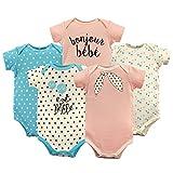 Luvable Friends Baby Infant Basic Bodysuit, 5 Pack, Bonjour, 18M(12-18 Months)