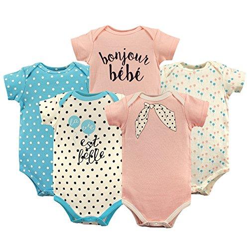 Luvable Friends Unisex Baby Cotton Bodysuits, Bonjour Short Sleeve 5 Pack, 3-6 Months (6M)]()