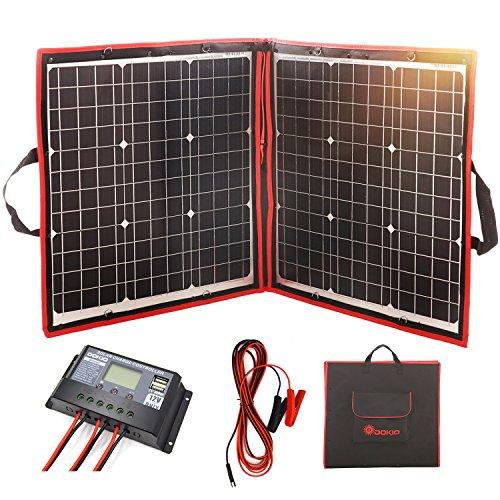 DOKIO 80 Watts 12 Volts Monocrystalline Foldable Solar Panel with Inverter Charge Controller (Panel Solar Mono)
