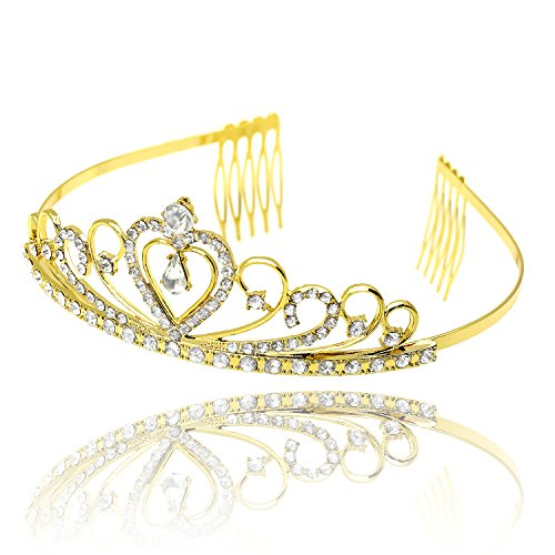 [CamingHG Gold Wedding Bridal Tiara Crown King Diadem Heart Queen Hair Comb Bride Rhinestone Jewelry Hair Ornaments Headdresses] (Gold Queen's Tiara)