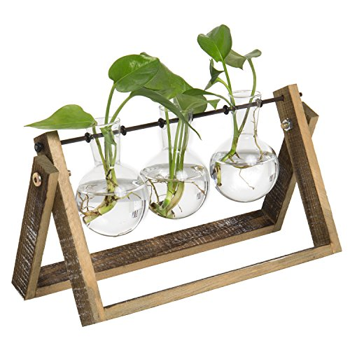 MyGift 3-Glass Planter Bulb Vases with Wood & Metal Swivel Stand by MyGift