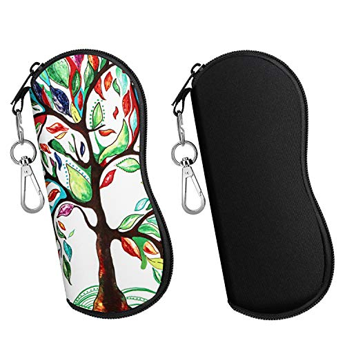 MoKo Sunglasses Soft Case 2 Pack, Ultra Light Portable Neoprene Zipper Eyeglass Soft Case, Eyewear Safety Pouch Zipper Box Case with Belt Clip - Black & Lucky Tree
