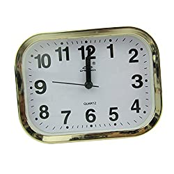 MagiDeal Multi Shaped, Round, Square, Rectangle, Ellipse, Wall Clock Quartz Clock Gold Frame Home Decor - Rectangle