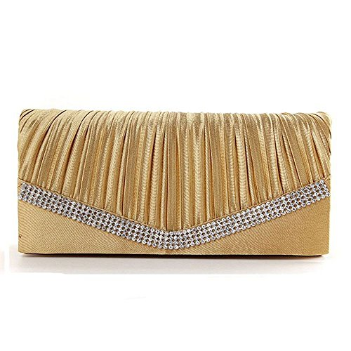 Womens Vintage Satin Pleated Envelope Evening Cocktail Wedding Party Handbag Clutch (1 gold)