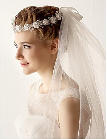Yean Bride Wedding Veil Flower Bridal Headpieces Hair Vine Wedding Hair Piece For Women White