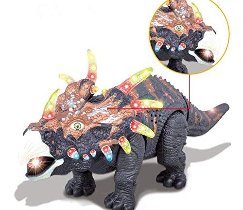 FanBell Walking Triceratops Dinosaur Toy Figure with Multicolor Lights & Loud Roar Sounds for for Boys and Girls Over 3 Years Old,Real Movement by FanBell (Image #3)