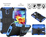 S5 Case,Galaxy S5 Case,[Perfect Fit] [Light Weight] [Shock Absorption] Durable Tough High Impact Hard Shell with Soft TPU Dual Layer Protective Case Cover with Kickstand for Samsung Galaxy S5 (Blue)