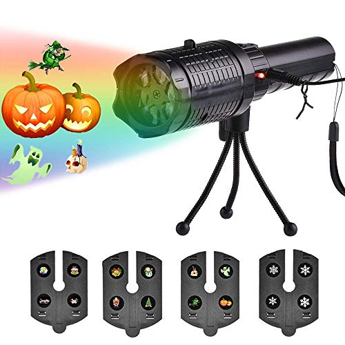 KOBWA Christmas Projector Lights LED Flashlight Projection Lamp,4 Slides Projection Holiday Lights,Battery-Operated 2 in 1 Decoration Light for Party, Birthday,Christmas, Easter