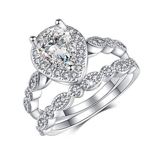 Madeone ✦White Gold Plating Excellent Pear Cut Cubic Zirconia CZ Stone Diamond Halo Ring Set/Teardrop Halo Ring Set for Women with Box Packing Size 5-10 (pear-Shape, 8)