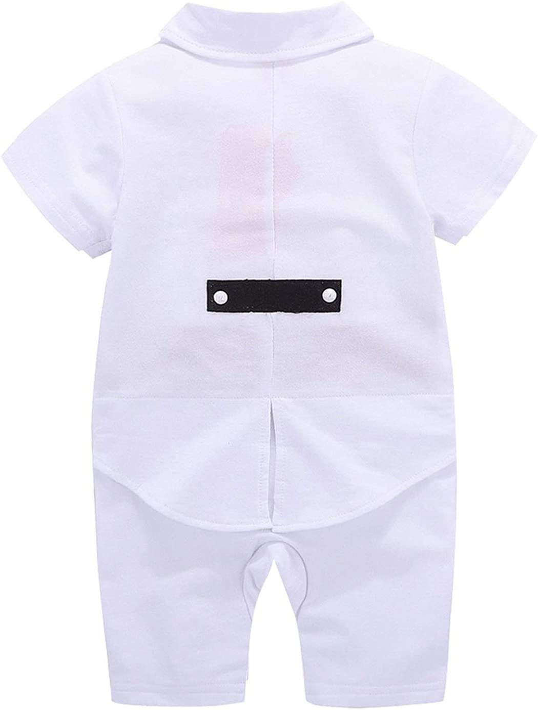 MetCuento Baby Boys Tuxedo Rompers Suit Short Sleeve Gentleman Bowtie Wedding Birthday Outfits Clothes 3-24 Months