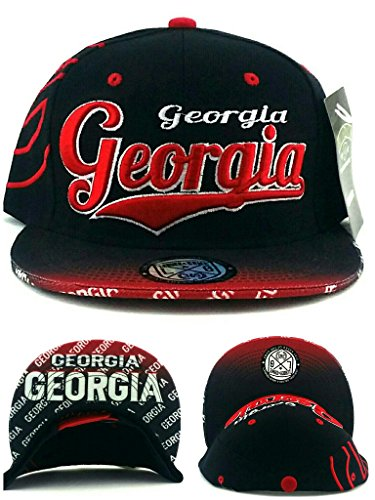 Georgia New Top Pro Gold Bulldogs Colors Black Red UGA Era Snapback Hat Cap