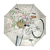 ALAZA Watercolor Bicycle Flower Travel Umbrella Auto Open Close UV Protection Windproof Lightweight Umbrella