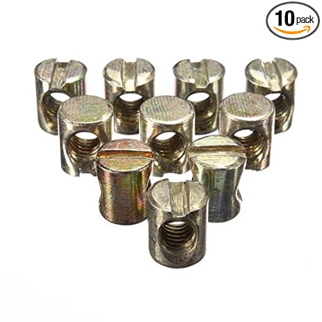 Superior Waterwood 10pcs M6 Barrel Bolts Cross Dowel Slotted Furniture Nut For Beds  Crib Chairs
