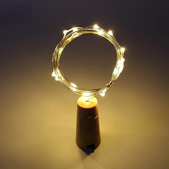 Cadenas de luz Bombilla Corcho batería Tiras LED Velas de luz Warm White Botella de Vino de Alambre de Cobre Luz Cadenas para decoración Cuerda String ...