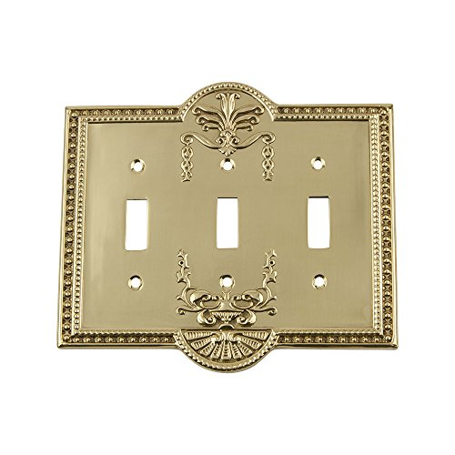 Nostalgic Warehouse 719928 Meadows Switch Plate with Triple Toggle, Polished ()