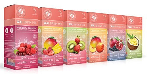 Wai Powdered Drink Mix: Flavor Assortment - 6 Boxes of 6 Single Serve Packets Each - Probiotic Flavored Water Enhancer Powder - Natural, No Added Sugar, Artificial Free (Mix Performance Drink Beverage)