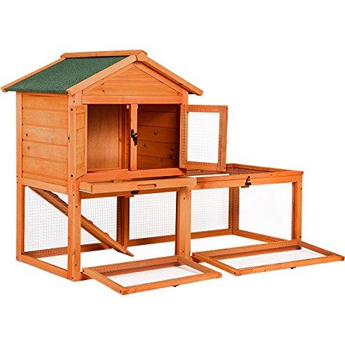 "Rabbit Hutch Playpen - Merax Pet Supplies Wood House Rabbit Hutch Outdoor Run, 56""L X 26""W X 39""H"