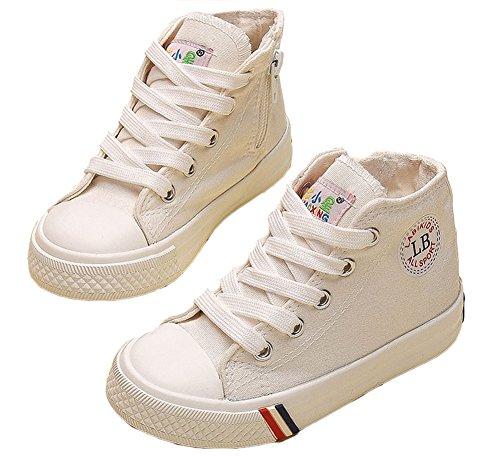 VECJUNIA Kinder Jungen und Mädchen Klassisch Schnürsenkel Hohe Unisex Sneaker Outdoor und Sport Schuhe Weiß