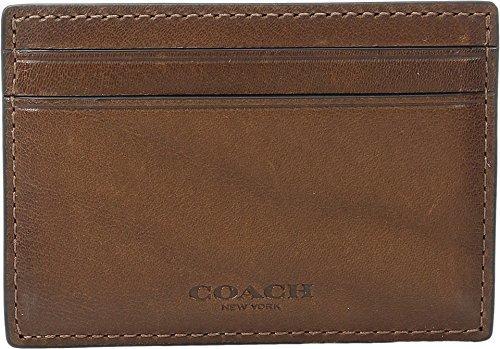 COACH Men's Sport Calf Money Clip Card Case Dark Saddle Cosmetic Bag