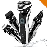 Electric Rotary Shavers For Men, The Best 4 In 1 Cordless Waterproof Razor, Nose & Ear Hair & Sideburns Trimmer Set, Wet & Dry and Wash Face Brush With USB Charging, Travelling Companion Kit