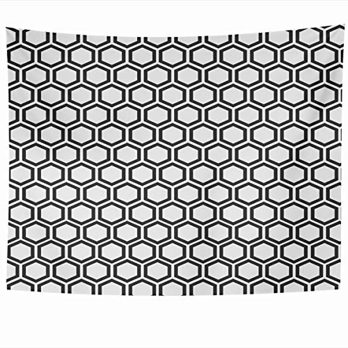 (Ahawoso Tapestry 60 x 50 Inches Endless Mesh Abstract Minimalistic Black White Pattern Geometrical Hexagon Cell Effect Fancy Design Wall Hanging Home Decor Tapestries for Living Room Bedroom Dorm)