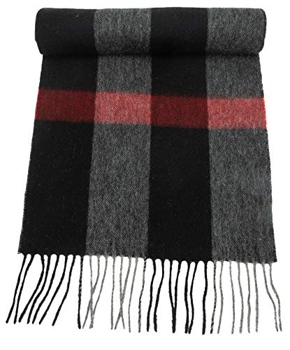 - 100% Virgin Wool Scarf for Women, Solids, Plaids, Warm Soft Luxurious by CANDOR AND CLASS (Black Wide Plaid)