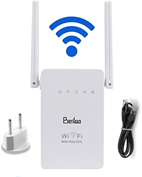 BeiLan Repetidor de WiFi 300Mbps Enrutador WiFi Amplificador de Largo Alcance 2.4GHz Extensor de señal de Refuerzo Red con Antena de Banda Dual ...
