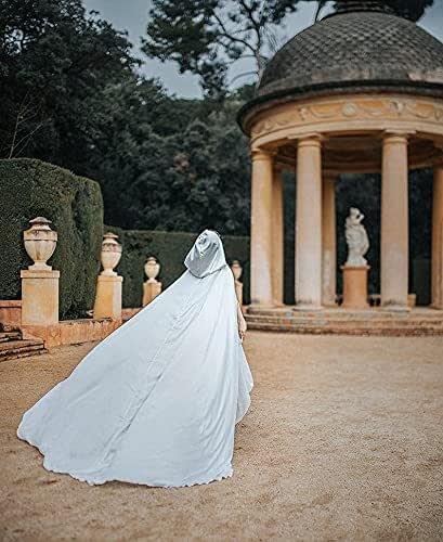 Capa larga de novia en crepe satin con cola y capucha, mujer boda