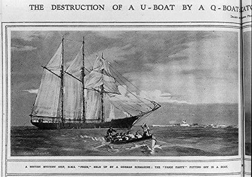 HistoricalFindings Photo: Destruction of U-Boat by Q-Boat,British Mystery Ship,HMS Prize,German Submarine