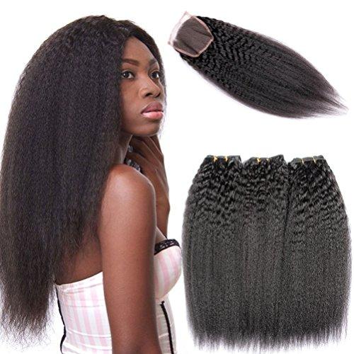 - Shengqi Hair Kinky Straight Hair Bundles with Lace Closure-100% Unprocessed Yaki Virgin Human Hair Kinky Straight Lace Closure with Bundles (14 16 18 +12)
