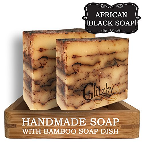 Handmade Soap - African Black Soap (2 pack with Bamboo Soap Dish) Cold Process Soap Bar with Tray