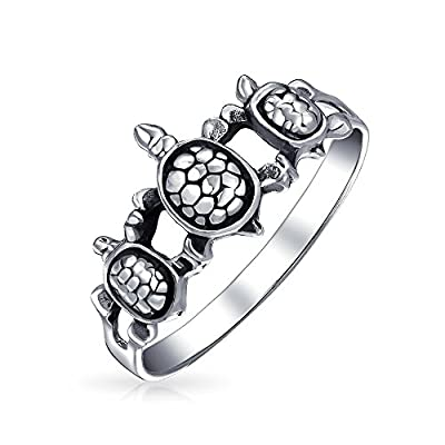 new Bling Jewelry Triple Sea Turtle Family Nautical Animal Sterling Silver Ring