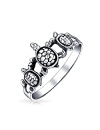 Bling Jewelry Triple Sea Turtle Family Nautical Animal Sterling Silver Ring