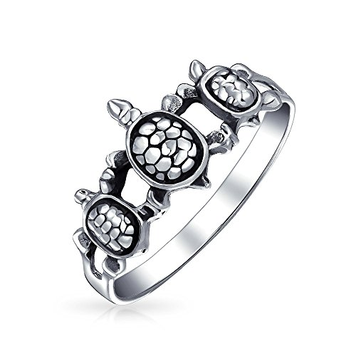 Friendship Three Best Friends Family Sea Turtle Ring Band For Teen For Women 925 Sterling Silver Ring