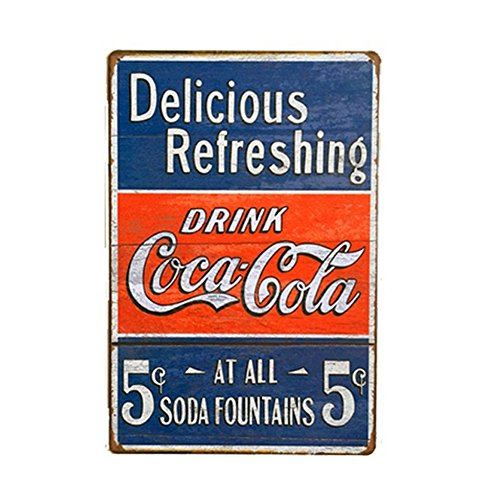 Retro Coca Cola Pin Up Tin Metal Sign, Multiple Patterns, 8