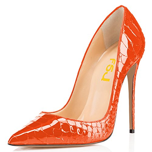 FSJ Women Formal Pointed Toe Pumps High Heel Stilettos Sexy Slip On Dress Shoes Size 10 Orange Snake (Stiletto Snake)