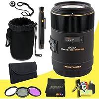 Sigma 258306 105mm F2.8 EX DG OS HSM Macro Lens for Nikon DSLR Cameras + 62mm 3 Piece Filter Kit + Lens Cap Keeper + Deluxe Lens Pouch + Lens Pen Cleaner + DavisMAX MicroFiber Cloth + Deluxe Starter Kit DavisMAX Bundle