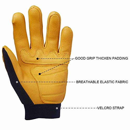 OZERO Leather Motorcycle Gloves, Grain Deerskin Glove for Work, Driving, Gardening, Hunting, Climbing - Extremely Soft and Snug Fit - Superior Grip Reinforced Palm Padding - (Yellow/Green, M/L/XL)