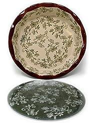 "Temp-tations 9"" Pie Pan Deep Dish w/ Glass Trivet & Plastic Cover (Floral Lace Green)"