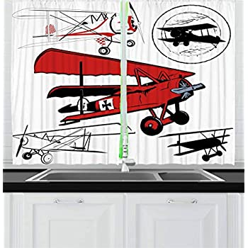 Amazon Com Ambesonne Airplane Curtains By Old Airplane
