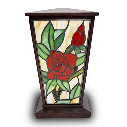 - Rose Stained Glass Memorial Urn for Adults - Large - Holds Up to 200 Cubic Inches of Ashes - Red Cremation Urn for Ashes - Engraving Sold Separately