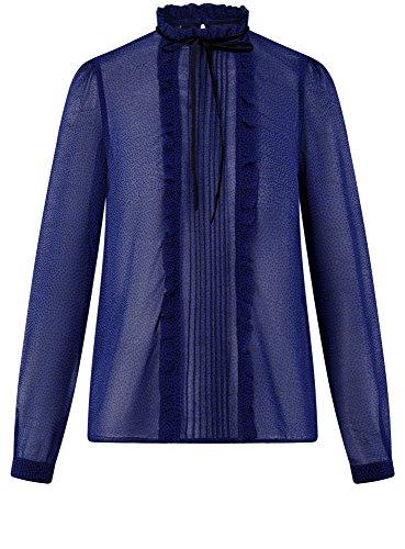 oodji Mousseline 7529d en Volants Bleu Femme Ultra Blouse IaZIwcqFr